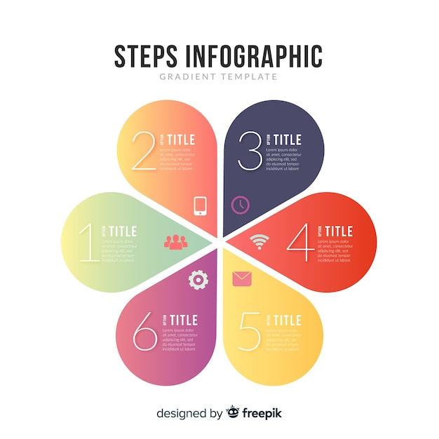 Verloop infographic stappen Gratis Vector