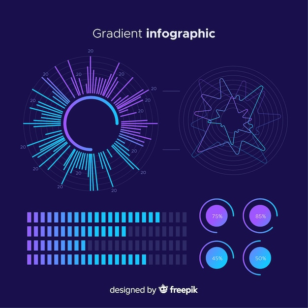 Verloop infographics elementen collectie Gratis Vector