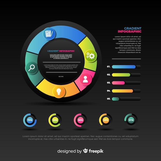 Verloop infographics elementen collectie Gratis Vector