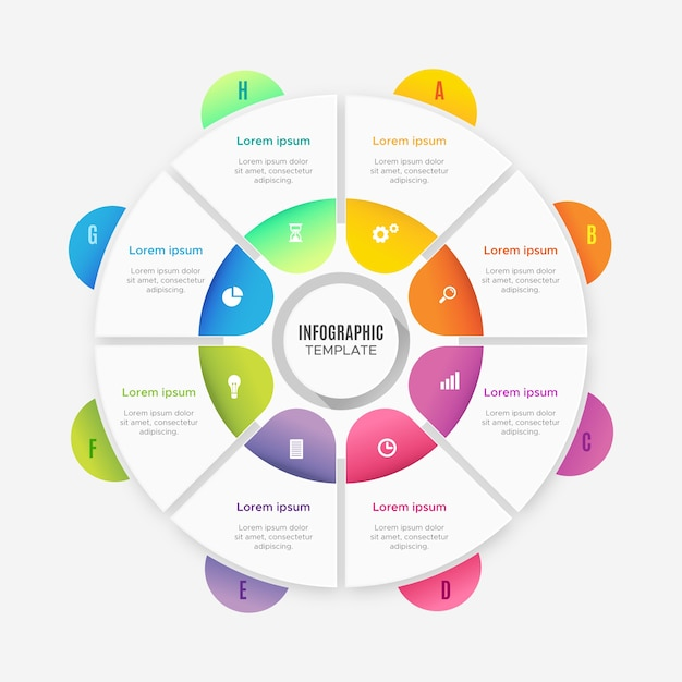 Verloop infographics sjabloon Gratis Vector