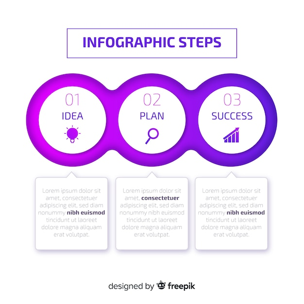 Verloop infographicsstappen Gratis Vector