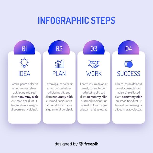 Verloop infographicsstappen Gratis Vector