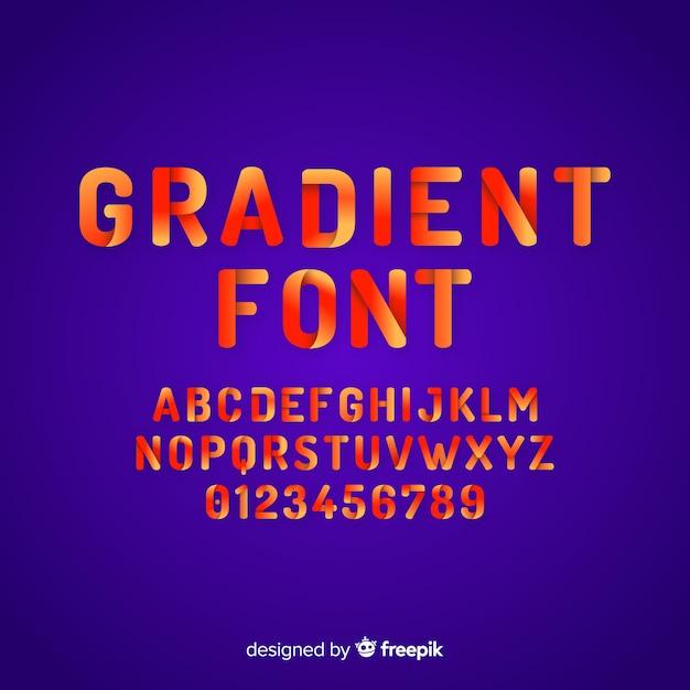 Verloop lettertype sjabloon plat ontwerp Gratis Vector