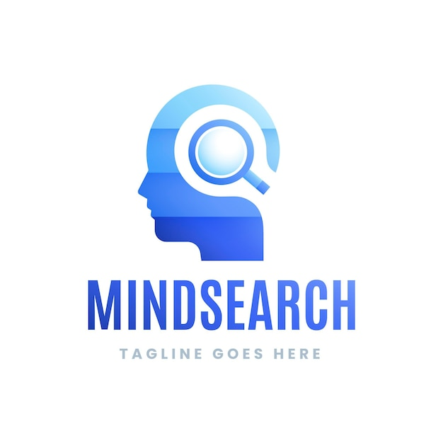 Verloop mindsearch-logo met slogan Gratis Vector