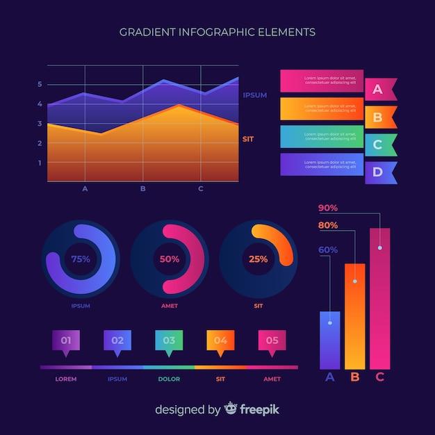 Verloop platte infographic elementenverzameling Gratis Vector