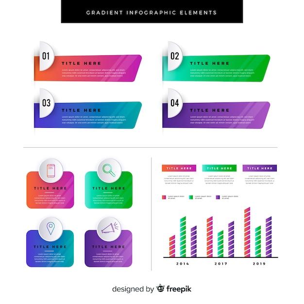Verloop platte infographics element collectie Gratis Vector