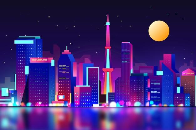 Verloop skyline van tokyo met neonlichten Gratis Vector
