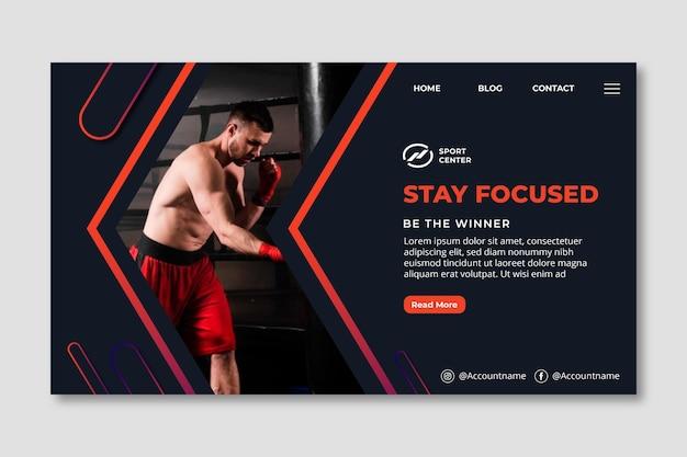 Verloop sport bestemmingspagina sjabloon met mannelijke bokser Gratis Vector
