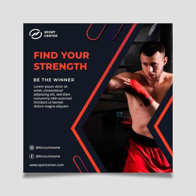 Verloop sport vierkante folder sjabloon met mannelijke bokser Gratis Vector