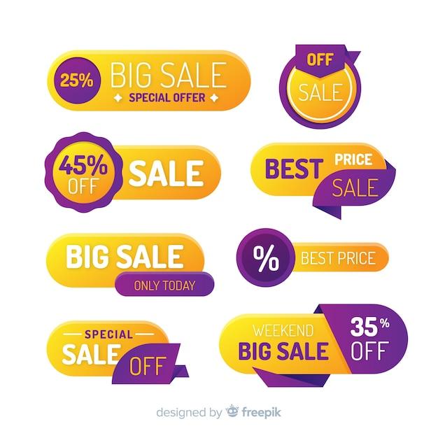 Verloop verkooplabel collectie Gratis Vector