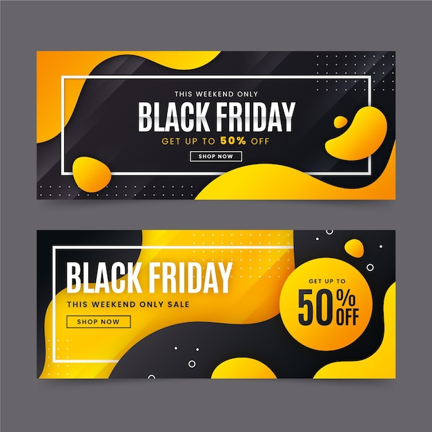 Verloop zwarte vrijdag banners sjabloon Gratis Vector