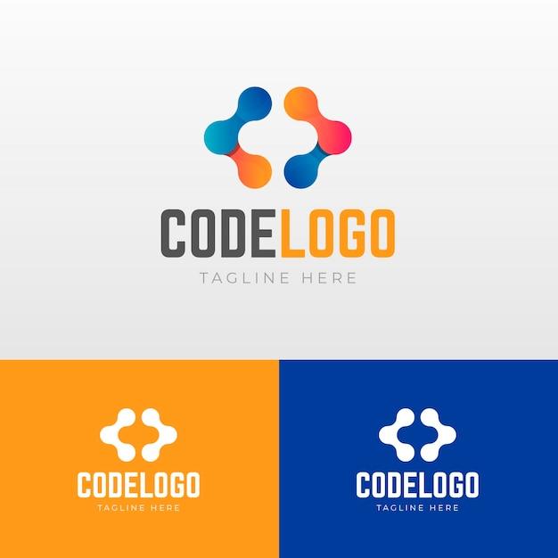 Verloopcode logo met slogan Gratis Vector