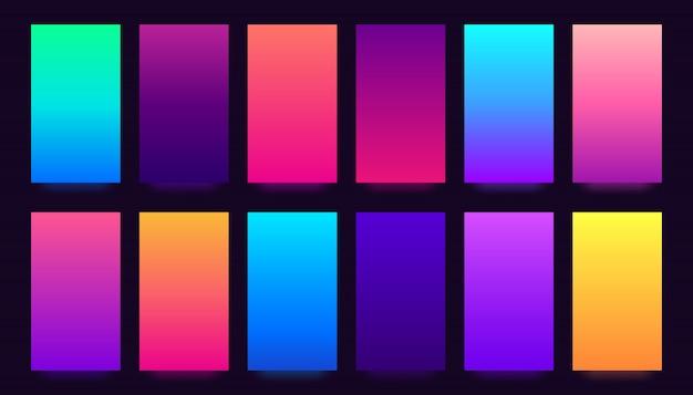 Verloopdekkingsset, kleurrijke verlopen, vage kleuren en levendige smartphone Premium Vector