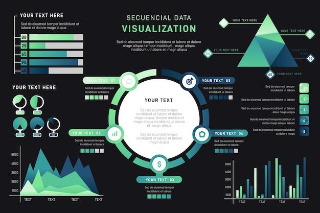Verloopgegevens visualisatie infographic Gratis Vector