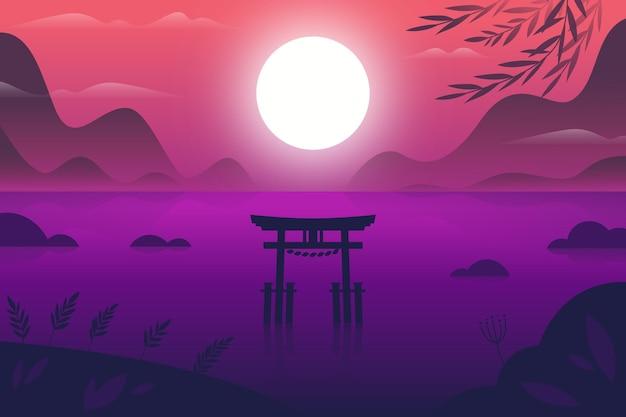 Verlooplandschap met toriipoort in het water Gratis Vector