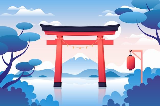 Verlooplandschap met toriipoort Gratis Vector
