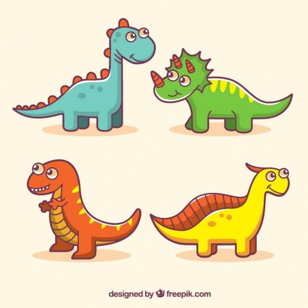 Vermakelijke gekleurde dinosaurussen Gratis Vector