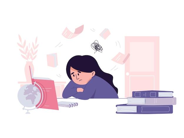 Vermoeid studentenmeisje dat tevergeefs op een examenillustratie probeert voor te bereiden Premium Vector