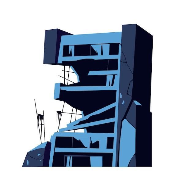 Vernietigd gebouw, beschadigde structuur, gevolgen van een ramp, ramp of oorlog, cartoon vector geïsoleerde illustratie Gratis Vector