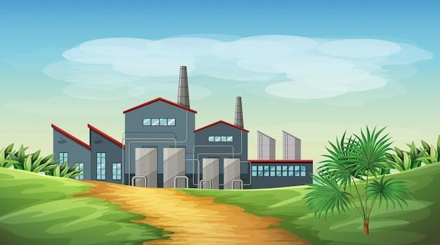 Verontreiniging van de scène van het fabrieksthema in aard Gratis Vector