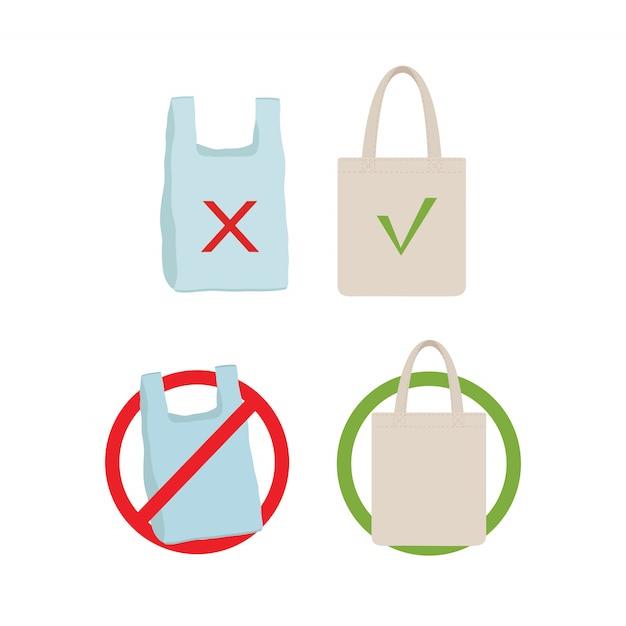 Verontreinigingsprobleem concept. zeg nee tegen plastic tas Premium Vector