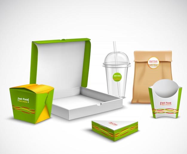 Verpakking fast food realistische set Gratis Vector