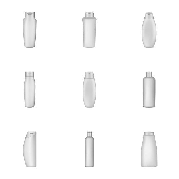 Verpakking shampoo iconen set, cartoon stijl Premium Vector