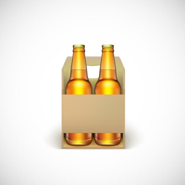 Verpakking van bier, geïsoleerd op een witte achtergrond. Premium Vector