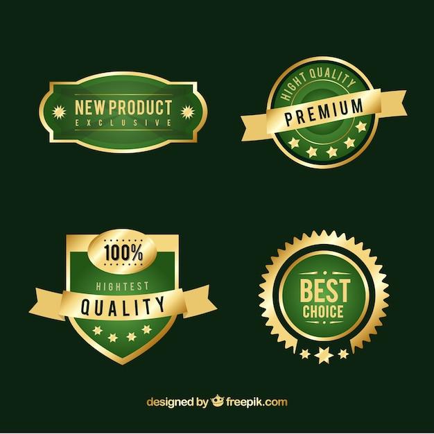 Verpakking van groene en gouden premium stickers Gratis Vector