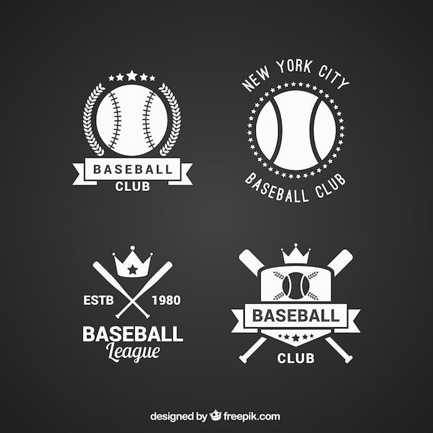 Verpakking van platte honkbal badges in vintage stijl Gratis Vector