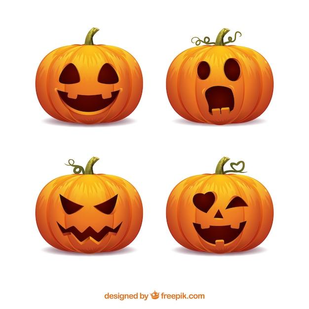 Verpakking van vier halloween pompoenen met grappige gezichten Premium Vector