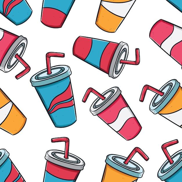 Verpakkingsconcept van frisdrank drink bekers in naadloos patroon met behulp van doodle stijl Premium Vector