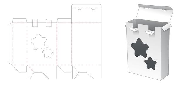 Verpakkingsdoos met 2 vergrendelingspunten en stervormig venster gestanst sjabloon Premium Vector