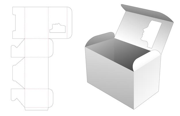 Verpakkingsdoos met venster in de vorm van een vrouwengezicht bovenop gestanste omslagsjabloon Premium Vector