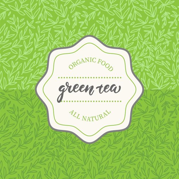 Verpakkingsontwerp voor groene thee. Premium Vector