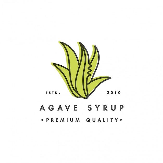 Verpakkingssjabloon logo en embleem - siroop - agave. logo in trendy lineaire stijl. Premium Vector