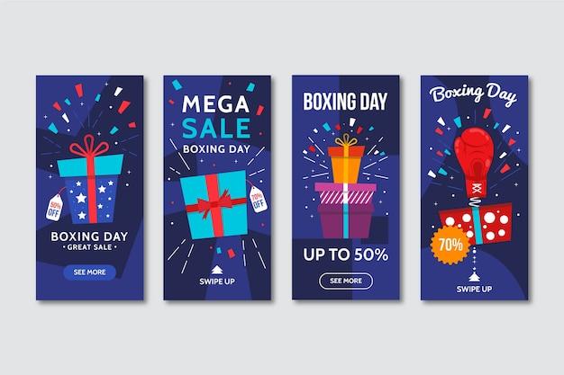 Verpakte geschenken instagram-verhalen voor tweede kerstdag Gratis Vector