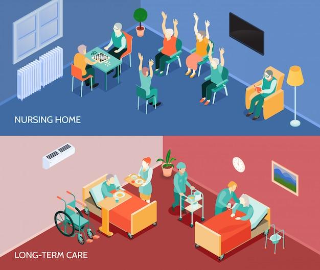 Verpleeghuis isometrische horizontale banners Gratis Vector