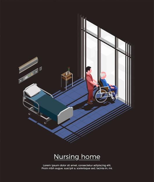 Verpleeghuis isometrische samenstelling met bejaardezitting op rolstoel en zijn verzorger in ruimtebinnenland Gratis Vector