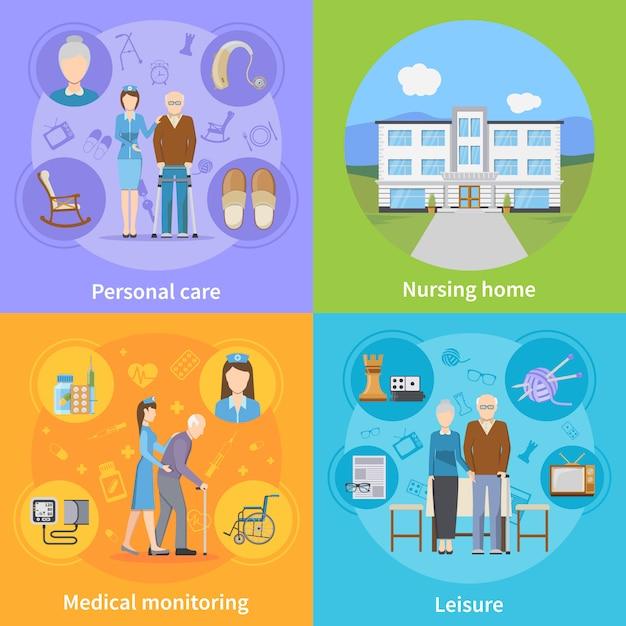 Verpleeghuiselementen en -personages Gratis Vector