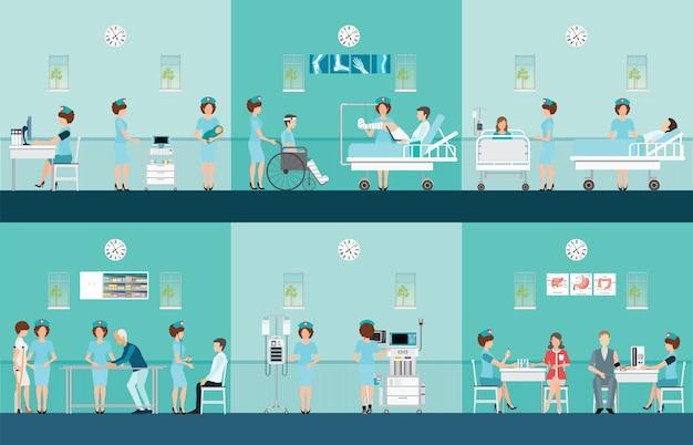 Verpleegkundige gezondheidszorg decoratieve pictogrammen instellen. Premium Vector