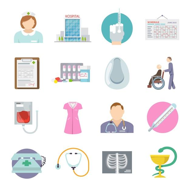 Verpleegkundige icon flat Gratis Vector