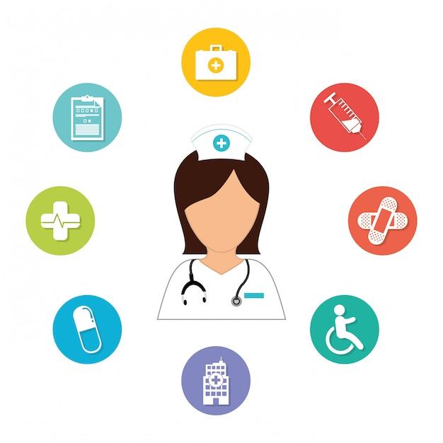 Verpleegkundige met diagnostische producten pictogramafbeelding Premium Vector