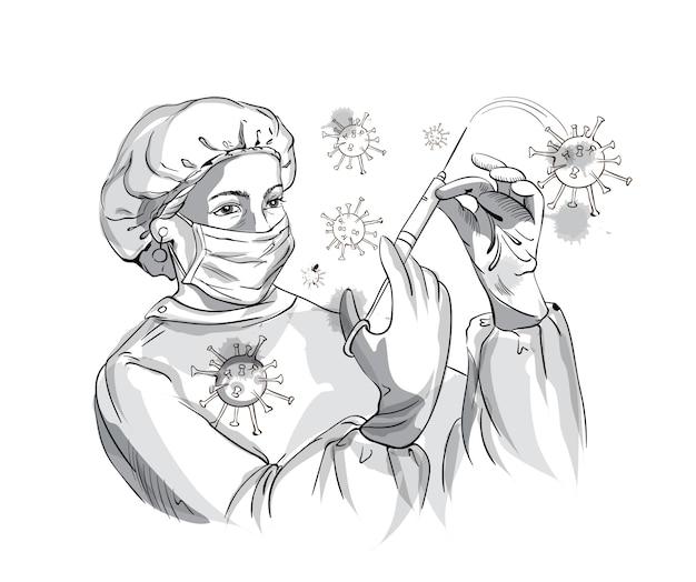 Verpleegster die beschermingsmateriaal draagt terwijl het bestrijden van corona-virus met een spuit Gratis Vector