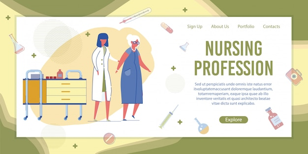 Verpleegster die hogere vrouw in de banner van het ziekenhuis helpt Premium Vector