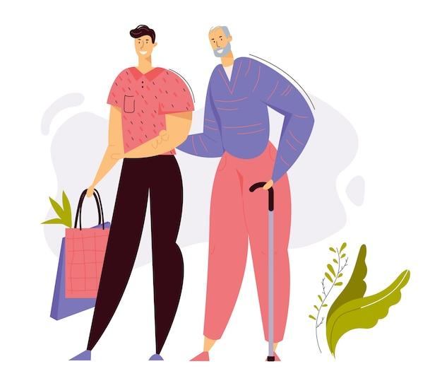 Verpleegster die voor oudere vrouw zorgt, bloeddruk meten. medische behandeling gezondheidszorg concept met senior vrouwelijk personage en arts. Premium Vector