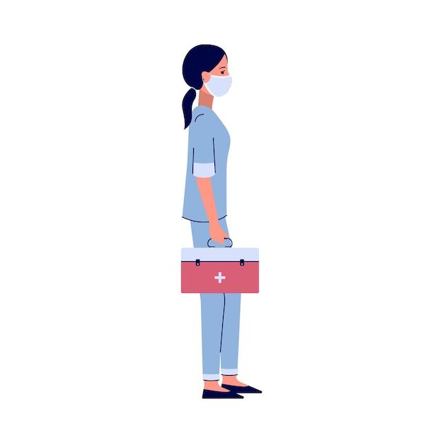 Verpleegster die zich met rode medicijnkoffer bevindt - de werknemer van het beeldverhaalziekenhuis in gezichtsmasker die een hulpmiddelzak houdt. hand getrokken illustratie op witte achtergrond. Premium Vector