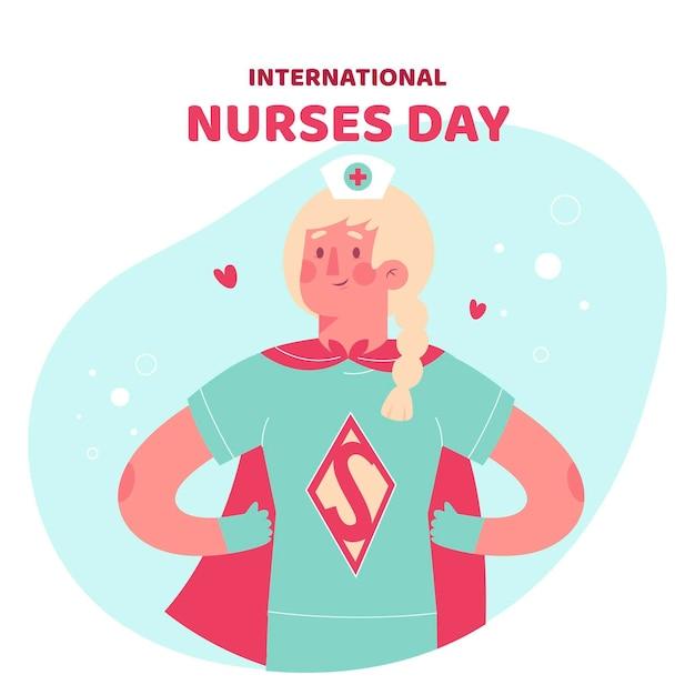 Verpleegster draagt een superheld kostuum Gratis Vector