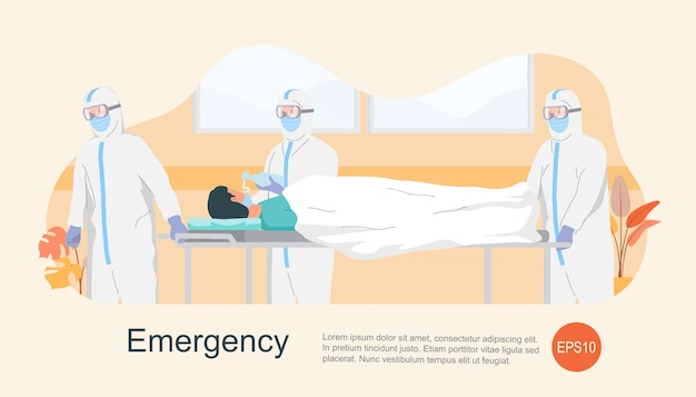 Verpleegster en arts met beschermerkleding in een haast die patiënt nemen Premium Vector