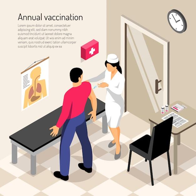Verpleegster en patiënt tijdens vaccinatie isometrische samenstelling Gratis Vector